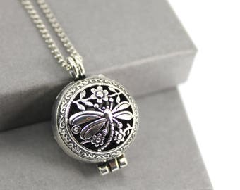 Dragonfly Locket with Fillable Glass Orb, Memorial Jewellery, Urn Locket, Cremation Jewelry, Fillable Jewelry, Cremation Necklace