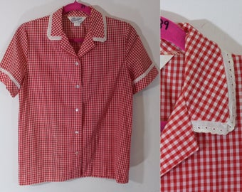 50s red and white gingham button up blouse by Donovan Galvani of Dallas modern size Medium