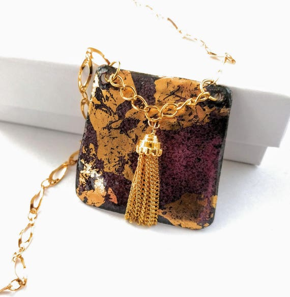 Gilded Enamel Tassel Pendant Shield Necklace