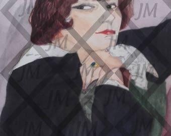 Watercolor painting portrait Colette