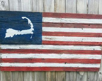Cape Cod, Cape Cod Flag, Cape Cod American Flag, Wooden American Flag, American Flag, Rustic Wood Flag, Barn wood flag