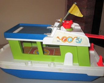 """Fisher Price-#985-""""HAPPY HOUSEBOAT"""" 1972 Vintage """"Little People"""" Toy"""