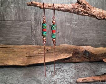 Turquoise Earrings, Southwest Earrings, Handmade Earrings, Boho Earrings, Tribal Earrings, African Earrings, Long Earrings, Native American
