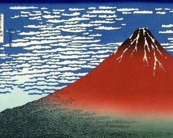 Fuji Mountains in Clear Weather 2 x Repro Japanese Woodblock Art Prints PIctures By Hokusai