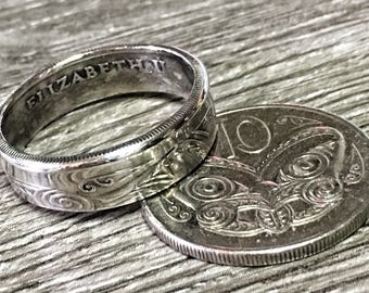 Maori New Zealand 10 c Coin Ring affordable wedding band engagement mens womens honeymoon All Blacks rugby team antique Victorian