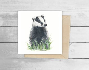 15cmx15cm 'Mrs Badger' Giclée Print Greetings Card