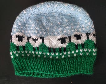 Sheep on a Pasture Knit Hat // Baable, Baa-ble, Sheep grazing on a field patterned knit hat