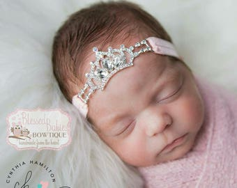 Rhinestones crown headband - birthday headband - crown headband - baby crown headband - girl crown headband - newborn crown headband