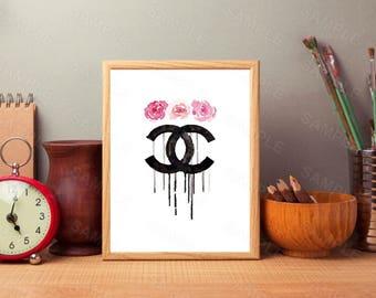 Chanel Wall Art, Watercolor Splash,Pink Flowers, Wall Art Decor, Printable Wall Print, Instant Download, Digital Art Print