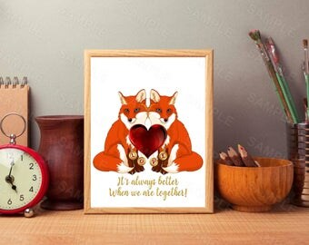 Fox Wall Art, Fox, Love, Heart, Art Decor, Valentine Day, Print, Printable Wall Print, Instant Download, Digital Art Print