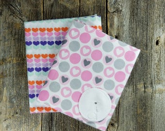 Gtube Pads - Pink/White Hearts (Bamboo Velour Option!)