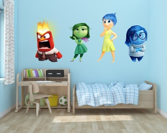 Inside Out Pixar Vinyl Wall Decal Anger Sadness Joy Disgust Set of 4
