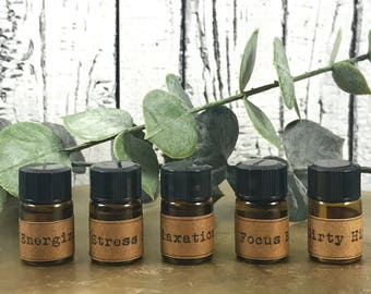 2ml | Essential Oil Blend | Refill | Stress Relief Blend | Relaxation Blend | Focus Blend | Energizing Blend | Aromatherapy