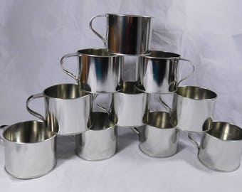 Classic Non-Embossed Tin Cup Metal Western Coffee Mug Light Weight Lot of 5 Drinking Glasses