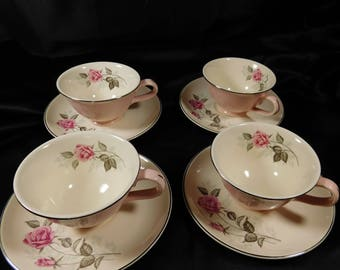 1950's Set of 4 Off White Tea Cups Saucers TST78 Taylor Smith Taylor VERSATILE Pink Roses Platinum Edge Blue Babies Breath Replacements
