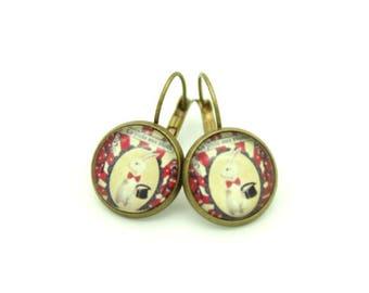 Rabbit magician pattern cabochon earrings