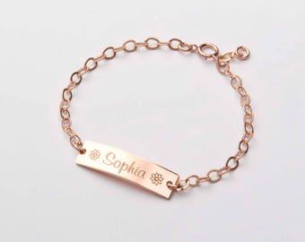 Custom Baby Name bracelet-Adjustable New Born Baby Toddler Child ID Bracelet-Flower Girl-14K Gold Filled-Rose-Silver-CG277B_1X.25