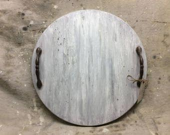 Round Wooden Tray, white wash farmhouse finish, 17 1/2 inch diameter, iron ware handles, rustic, weathered, coffee table tray, hostess gift