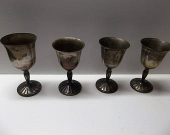 International Silver Co Goblets Lot Of 4  Tarnished Silverplate
