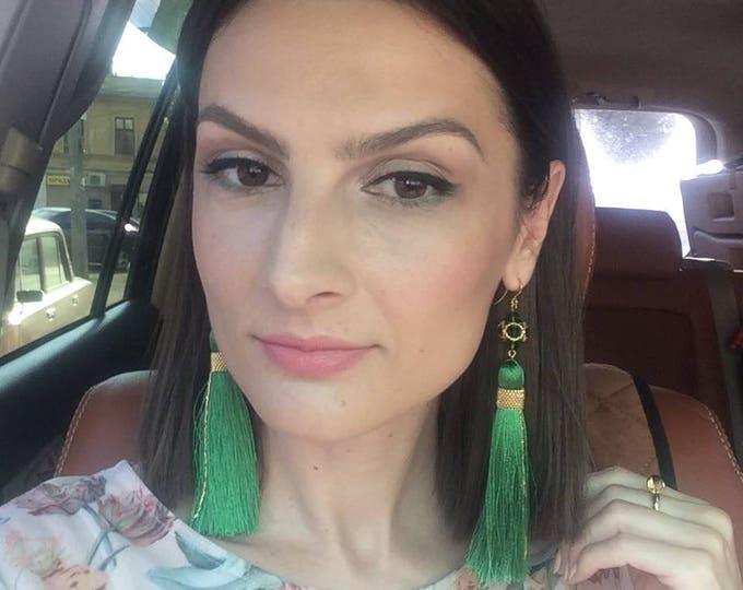 Green Tassel Earrings, Silky Tassel Earrings, Long Tassel Earrings, Large Statement Earrings, Fashion Jewelry, Tassle earrings