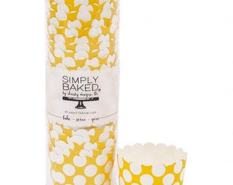 Greaseproof (25 qty), yellow baking cup, mustard baking cups, yellow cupcake liners, baking cups, yellow  and white dots baking cups