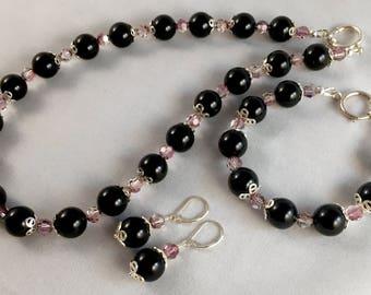 Black Onyx and Swarovski Crystals Jewelry Set