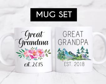 Great Grandparent Mugs, Pregnancy Reveal To Grandparents, Pregnancy Announcement, New Grandparents, Great Grandma, Great Grandpa