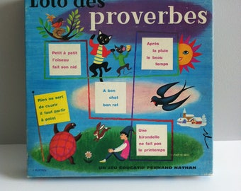 Fernand Nathan French Loto des proverbes, 1960's game, complete.