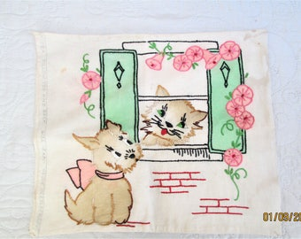 Vintage Pillow Cover, embroidered pillows, dog collectibles, cat collectibles, vintage Vogue needlework, child's wall art