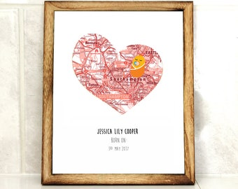 Baby girl print - personalised new baby art- baby announcement - girl nursery decor - baby girl gift - personalized heart map