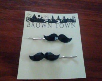 2 Mustache bobby-pins, Mustache hair pins, Hipster hair pins, Handmade