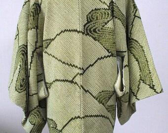 second hand Japanese haori kimono jacket for women, shibori, silk, green, mountain