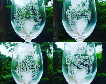 Slytherin house crest laser engraved Wine glass Harry Potter  Gifts for him / her Birthday gifts