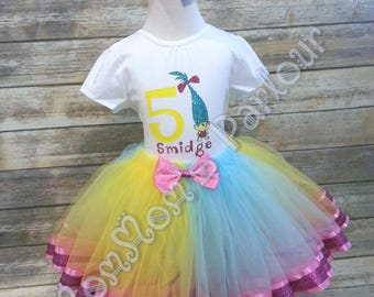Smidge Troll tutu, troll tutu, birthday tutu, troll sgirt, custom tutu outfits, smidge troll shirt, troll birthday party, troll theme tutu