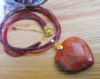 Red Jasper Heart Pendant Cord Necklace