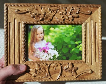 Wooden Photo Frame Wood Carving Natural Oak Free Shipping Natural Color Xmas Gift Own Design Wedding Birthday Father Mother Day