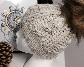 Cream Tweed cable knit beanie with faux fur pom pom