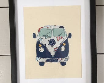VW campervan embroidered, mounted and framed. Can be Personalised. Bespoke gift. Great present for moving house, travelling, wedding, etc