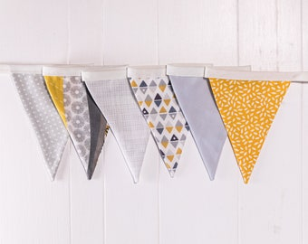 Handmade Mini Grey and Mustard Bunting.  Grey theme celebration decoration or the perfect gift to style any room.