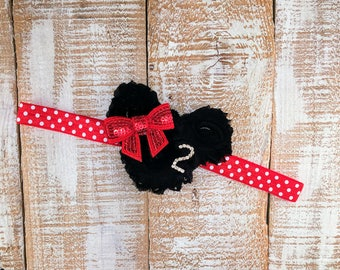 2nd Birthday Headband, Minnie Mouse Inspired, Red & Black Headband, Second Birthday Headband, Photo Prop