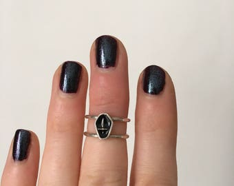 Coffin ring//midi ring//sterling silver ring