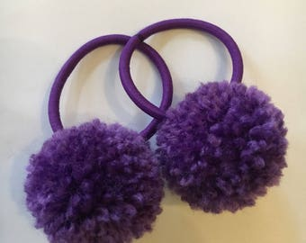 Pair of small Pom Pom hair ties