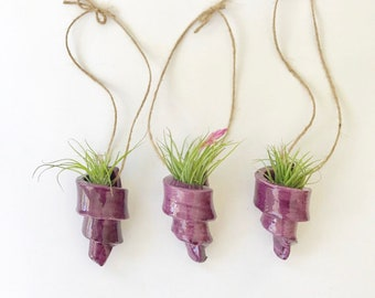 Set of 3 Handmade Spiral Air Plant Holders in Purple