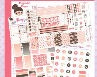 Mini H Birthday Girl Weekly Set, Page 2, and Icon Set Planner stickers #02