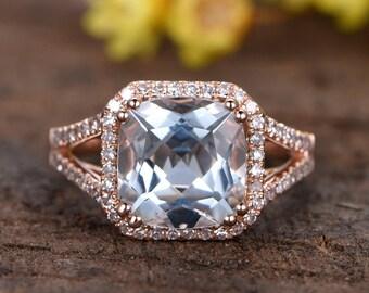 3.5ct natural aquamarine engagement ring 14k rose gold diamond wedding band anniversary ring HALO diamond bridal ring 9mm cushion Aquamarine