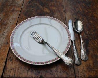 Societé Céramique Maestricht, 6 6 retro vintage plates, plates with flower decor, 6 old plates, Dutch stoneware.