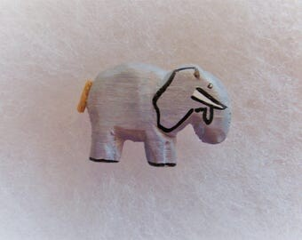 Hippo Jewelry Pin - handcarved and handpainted