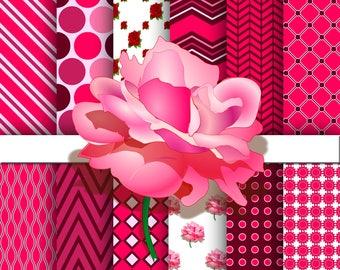 rose digital paper, rose color background, rose scrapbooking paper