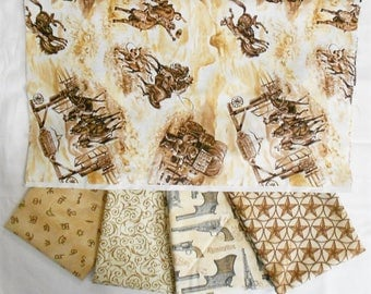 Western Fabric Bundle 5pc.- 1/2 yard cuts/Wild West Bronco/Brands/filigree pattern/Remingon Guns/tin star pattern (#O248)