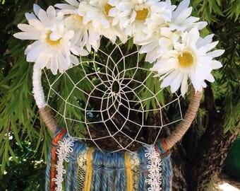 Flower Dreamcatcher/Dreamcatcher/ Boho chic decor/ Wedding dreamcatcher/ Boho dreamcatcher/ Nursery room decor/ Hippie decor/Bedroom decor